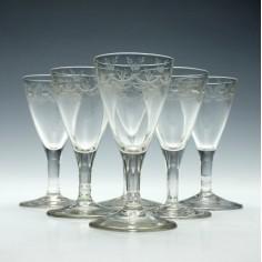 Six Engraved Georgian Port Wine Glasses c1790