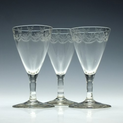 Three Engraved Georgian Port Wine Glasses c1780
