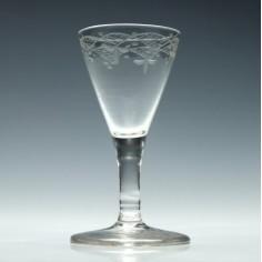 Engraved Georgian Gin Glass c1770