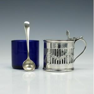 20th Century Silver Mustard & Spoon 1902