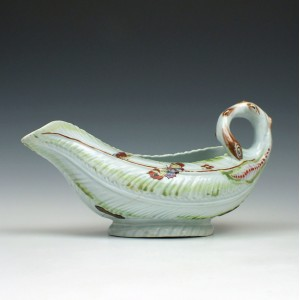 Worcester Dr Wall Period Cos Moulded Sauceboat c1757