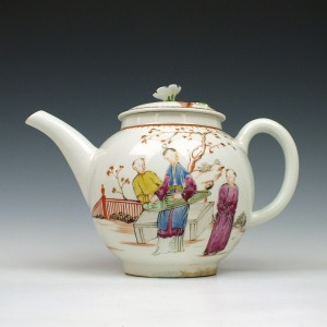 RESERVED DO- Rare Early Lowestoft Porcelain Mandarin Pattern Teapot and Cover c1768