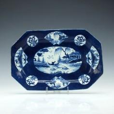 Bow Octagonal Fan-Panelled Landscape Pattern Dish 1760