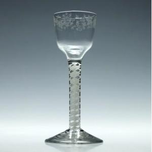 Engraved Georgian Wine Glass With Opaque Twist Stem c1760