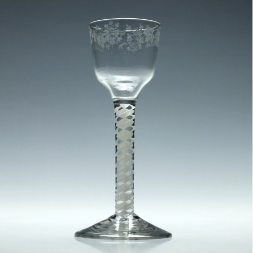 Engraved Georgian Wine Glass With Opaque Twist Stem c1760
