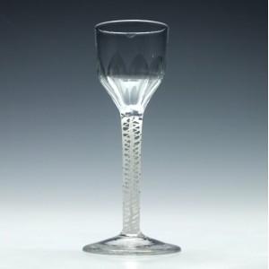 Georgian Wine Glass With Double Series Opaque Twist Stem c1790