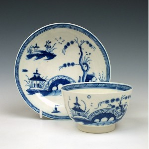 Caughley Bridge and Windmill Pattern Teabowl and Saucer c1788