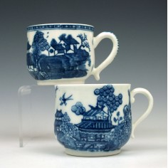 Caughley Willow Nankin and Cottage Pattern Custard Cups c1790