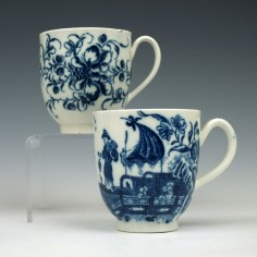 Two Caughley Transfer Printed Coffee Cups c1780