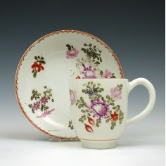 Lowestoft Porcelain Tulip Painter Coffee Cup and Saucer c1775
