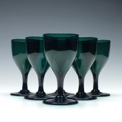 Six Georgian Green Wine Glasses c1820