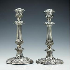 Pair George IV Silver Candlesticks Sheffield 1823