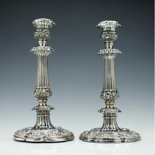 Pair George IV Silver Candlesticks Sheffield 1823