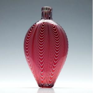 Cranberry & White Nailsea Glass Flask c1860