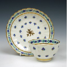 Caughley Corn Sprigs Pattern Teabowl & Saucer c1785