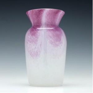 Gray-Stan Mottled Pink Over White Vase c1930