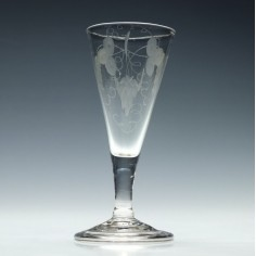 Engraved Georgian Ale Glass With Folded Foot c1750