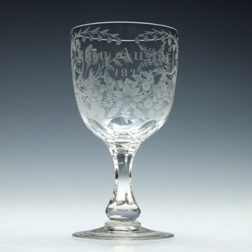 Engraved 19th Century Wine Goblet c1875