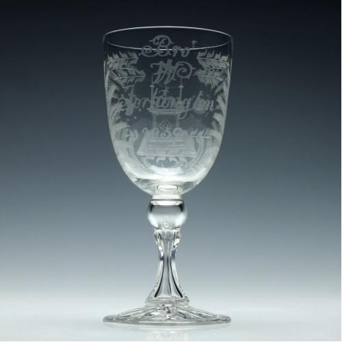 19th Century Masonic Engraved Wine Goblet c1870
