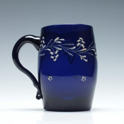 Enamelled Georgian Blue Glass Tankard c1800