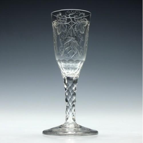 Engraved Georgian Facet Cut Stem Ale Glass c1780