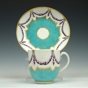 Chelsea-Derby Porcelain Coffee Cup and Saucer c1768-70