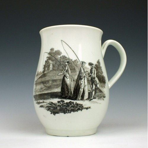 Very Rare Worcester Bell Shape Whitton Anglers Pattern Mug c1768