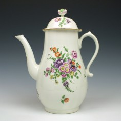 Worcester Hand painted Floral Pattern Coffee Pot c1775