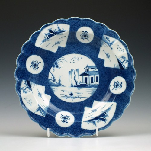 Caughley Fan-Panelled Landscape Pattern Plate c1780