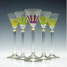 Six Art Nouveau Liqueur Glasses c1920