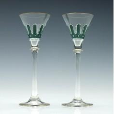 Pair Art Nouveau Liqueur Glasses c1920