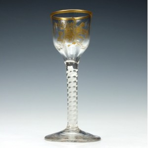 James Giles Gilded Opaque Twist Wine Glass c1760