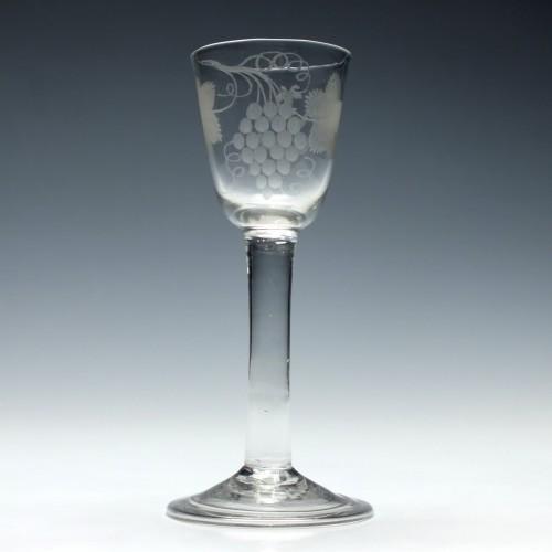 Engraved Georgian Plain Stem Wine Glass c1760