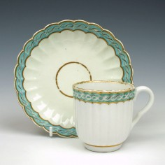 Barr Flight Barr Period Ribbed Coffee Cup and Saucer c1810