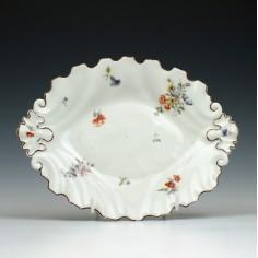Chelsea Porcelain Oval Moulded Silver Shape Dish c1755