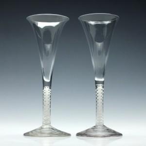 Pair 18th Century Opaque Twist Champagne Flutes c1760