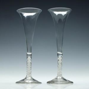 Pair Georgian Opaque Twist Champagne Flutes c1760