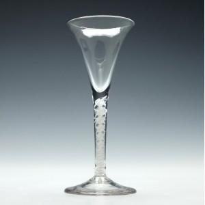 18th Century Opaque Twist Wine Glass c1760
