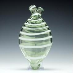 Victorian Nailsea Glass Gimmel Flask c1840