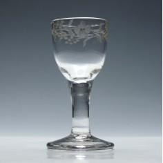 Engraved Georgian Plain Stem Firing Glass c1820