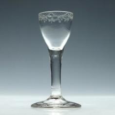 Engraved 18th Century Plain Stem Wine Glass c1740