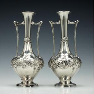 Pair Of WMF Art Nouveau Stem Vases 1910