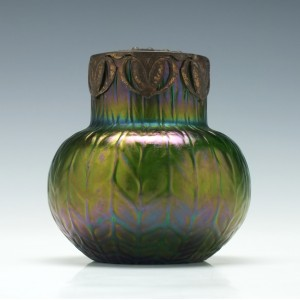 Iridescent Bohemian Glass Vase c1905
