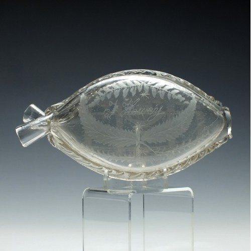 Engraved Glass Double Gimmel Flask c1840