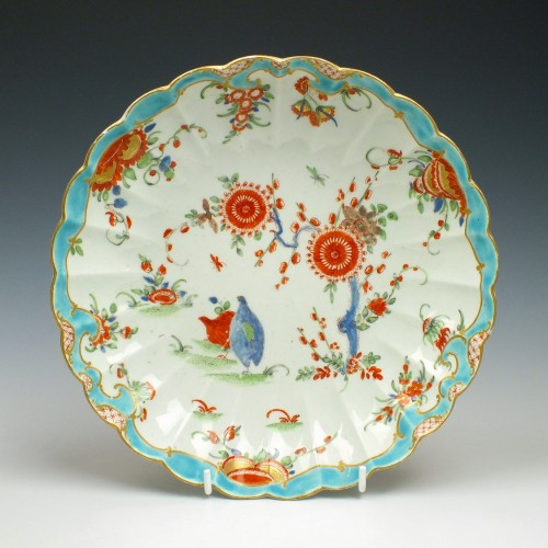 Rare First Period Worcester Two Quail Pattern Saucer Dish c1770