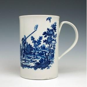 Worcester Porcelain The Man Holding a Gun Pattern Mug c1780