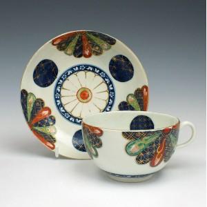 Worcester Porcelain Japan Fan Pattern Teacup and Saucer c1770