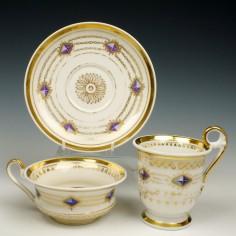 Paris Porcelain Gilded Trio c1820