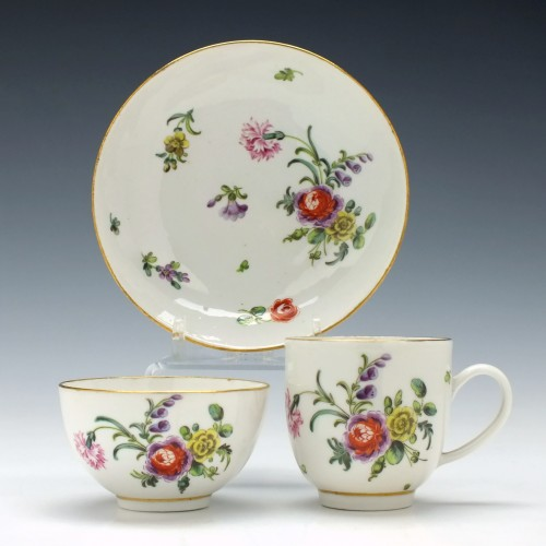 Bristol Porcelain Trio Decorated by Henry Bone c1775