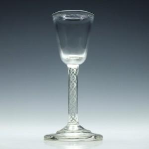 Edwardian Opaque Twist Wine Glass c1910